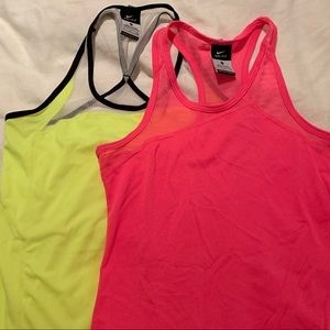Lot of 2 neon yellow & bright pink Nike tops